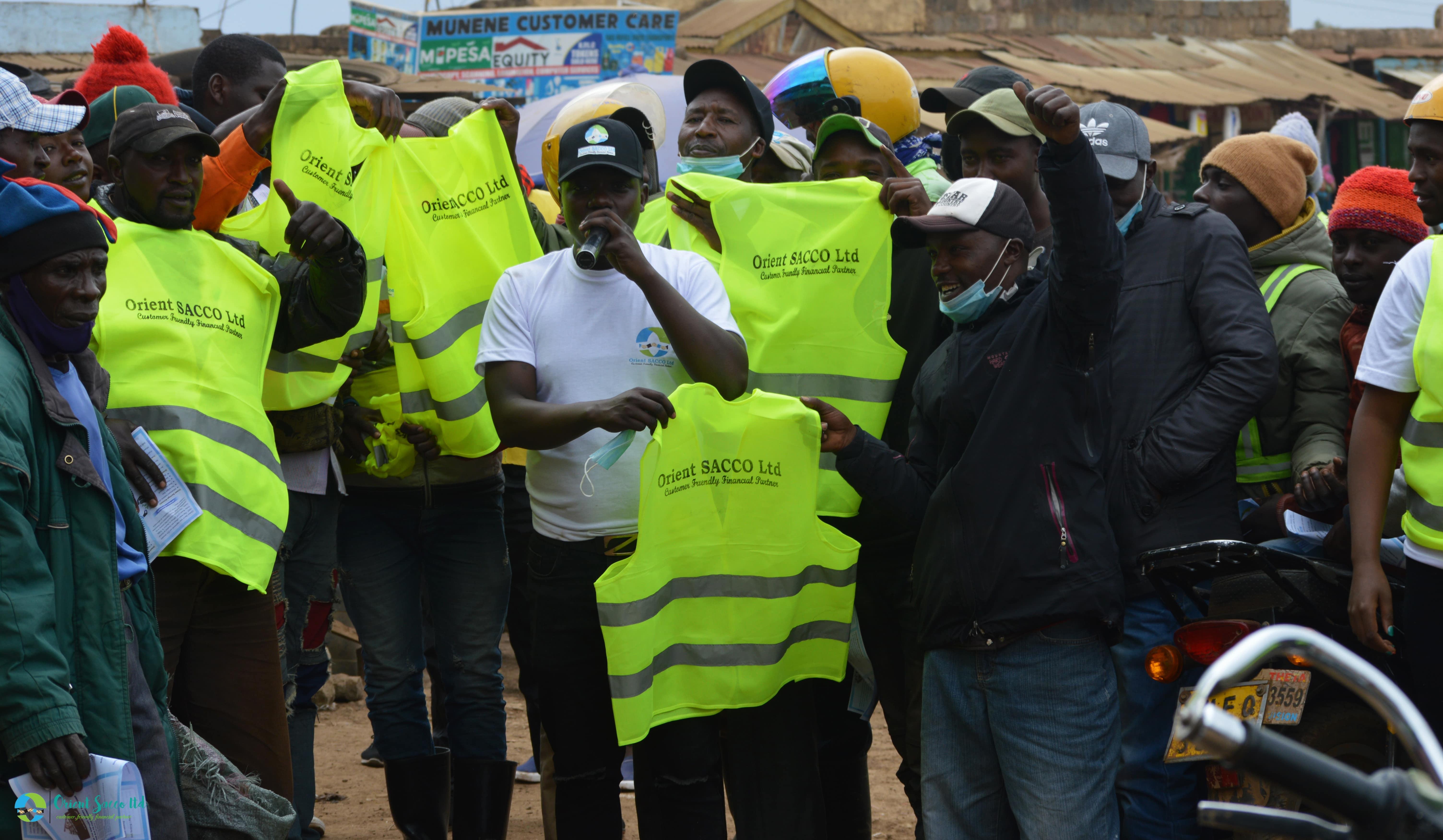 Ndarasha Office Launch-Giving Reflector Jackets to Boda Boda Operators